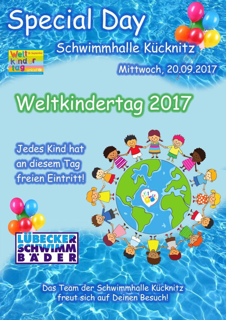 Wir feiern am Mittwoch, den 20. September den Weltkindertag im Schwimmbad Kücknitz!