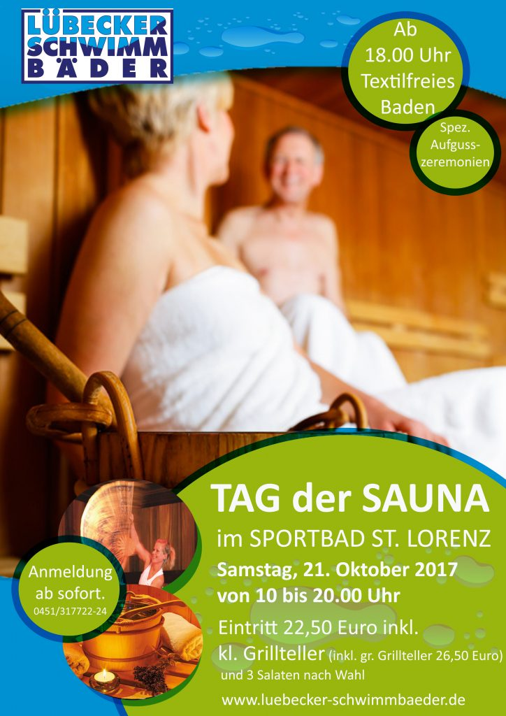 TAG der SAUNA am Samstag, den 21.10.17 im Sportbad St. Lorenz